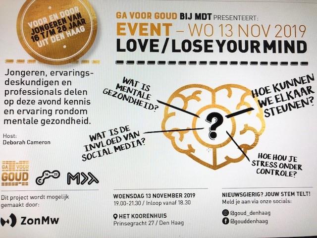 Ga voor GOUD bij MDT: Love/Lose your mind.